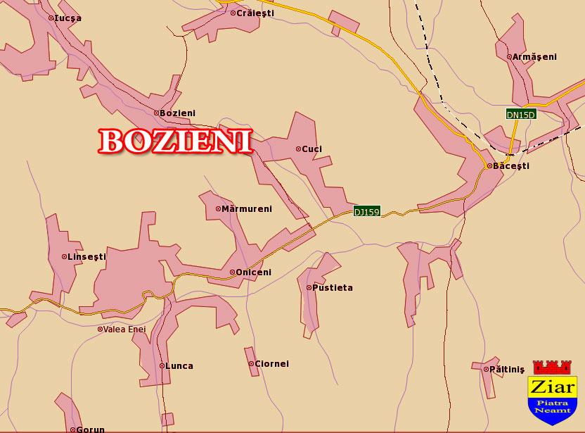Harta Comuna Bozieni - Neamt