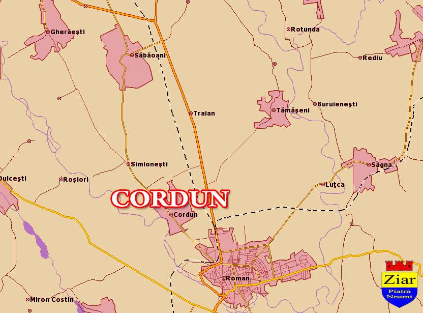 Harta Comuna Cordun - Neamt