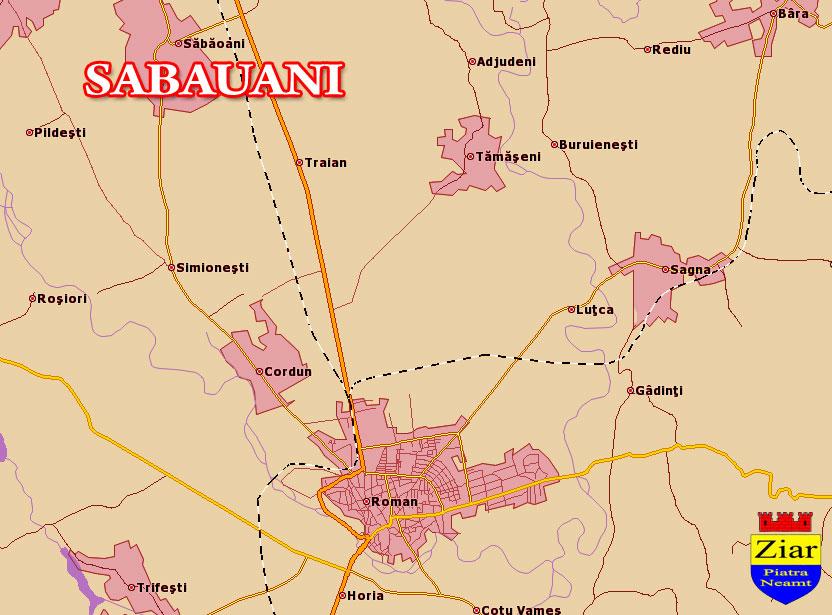 Harta Comuna Sabaoani Neamt