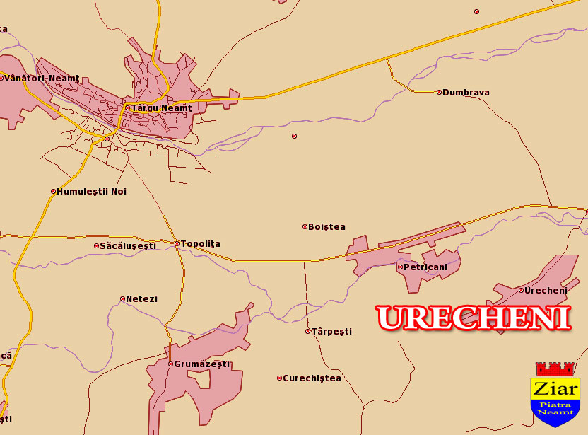 Harta Comuna Urecheni Neamt