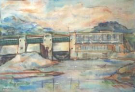 Ştefan Hotnog , Hidrocentrala de la Bâtca Doamnei, acuarelă, 0,640 x 0,460