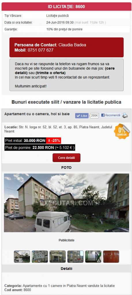 Apartament cu o camera, hol si baie - executare silita in data de 24-06-2016 in Piatra Neamt