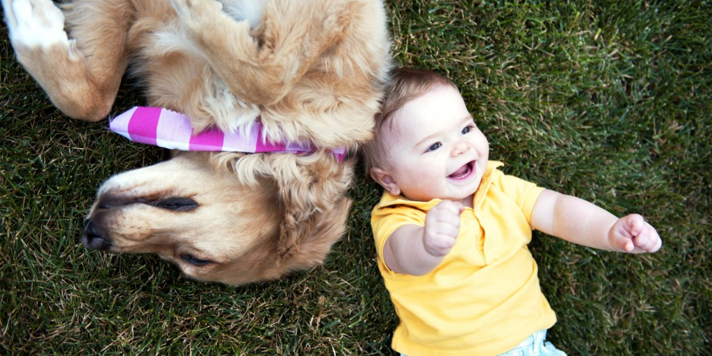 Baby And Dog Laying In Grass Together
